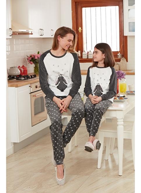 Dagi Kız Çocuk Polar Kadife O Yaka Uzun Kollu Pijama Takımı Füme